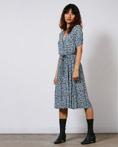 Openlee Floral Dress Antic Blue