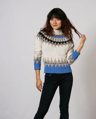 Justin Fairisle Knit Ecru Mix