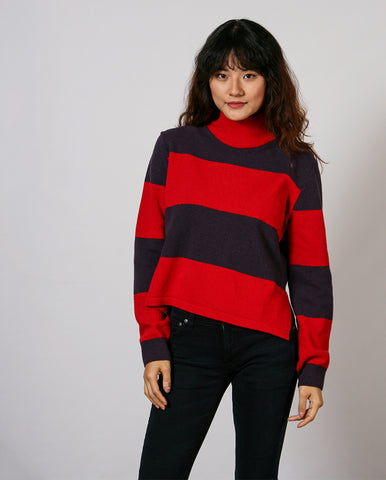 Turtle Neck Raspberry Stripe