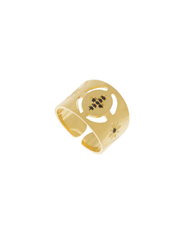 Brushed Gold Signet Cross Ring