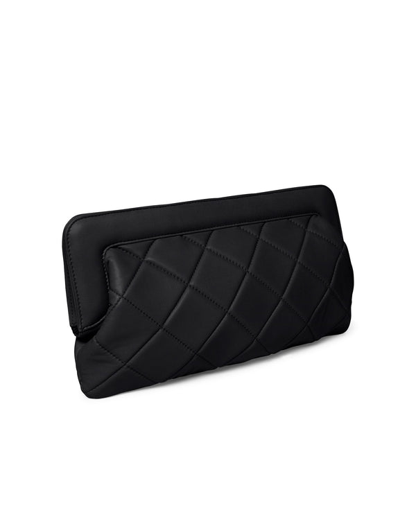 Leather Padded Clutch BLACK