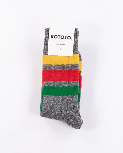 Park Stripe Crew Socks CHARCOAL