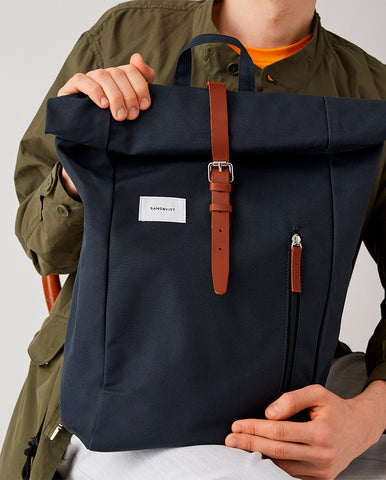 Dante Rucksack Blue/Natural leather