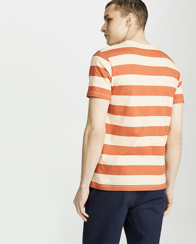 Bold Stripe Tee Orange/Ecru