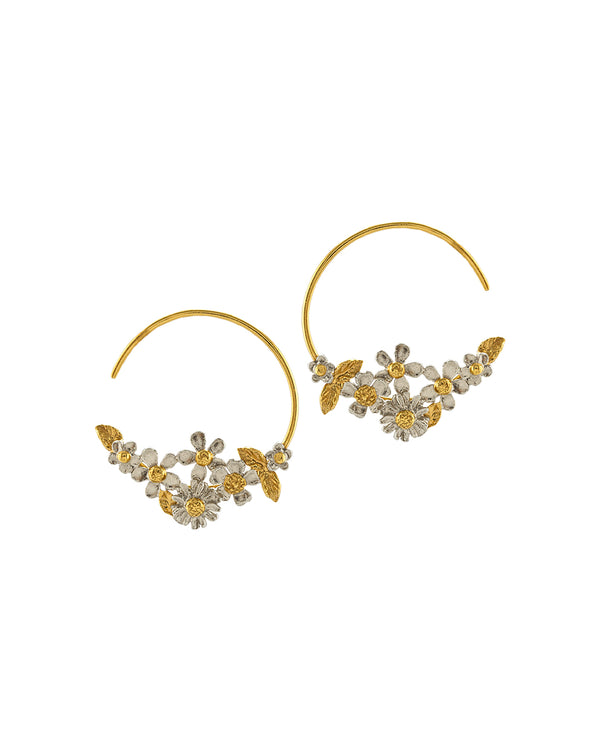 Spring Posy Fine Hoop Earrings