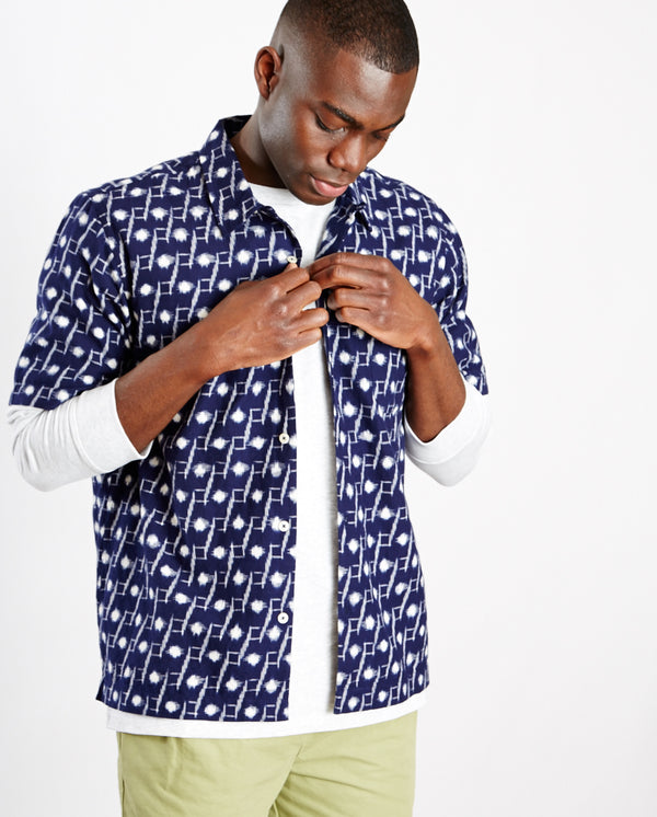 Ikat Road Shirt INDIGO