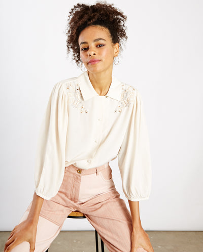 Judy Embroidered Blouse Cream