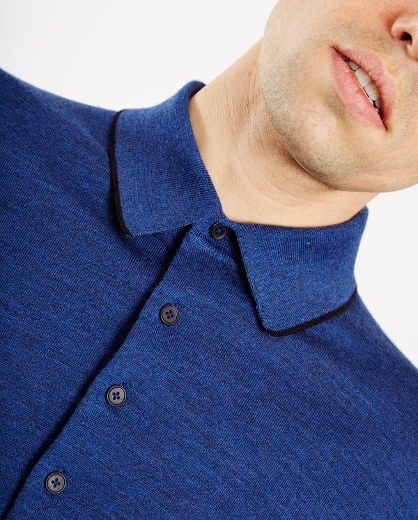 Merino Knitted Polo BLUE