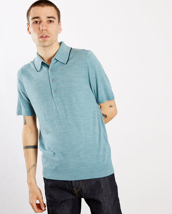Merino Knitted Polo AQUA