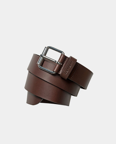 Script Leather Belt DARK BROWN