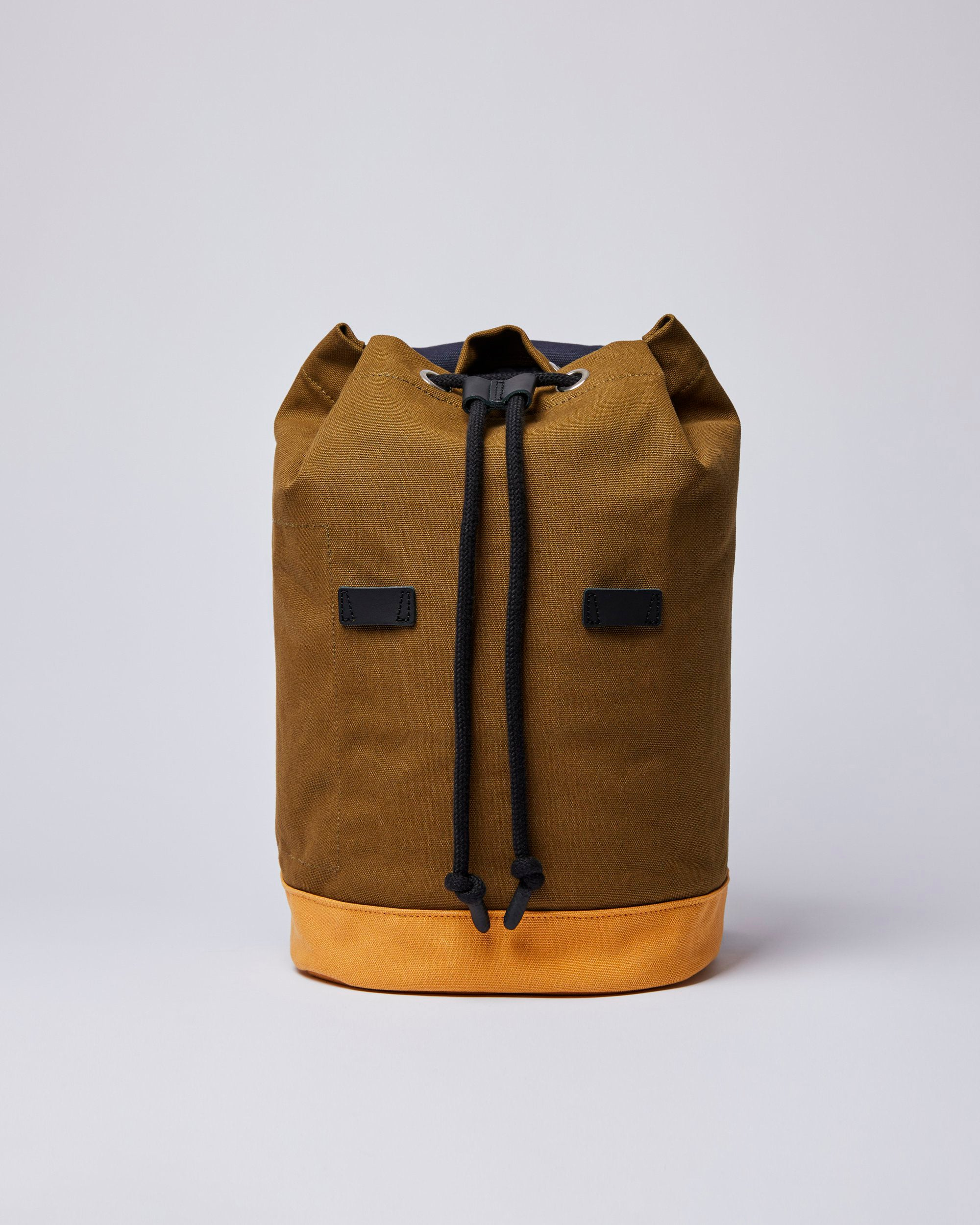 Stig Rucksack Multi Navy/Dark Olive/Honey Black Leather