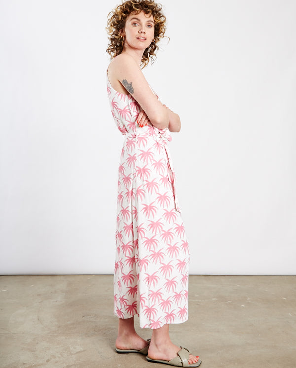 Sunset Dress Cream / Pink Palms