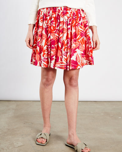 Swoosie Skirt Flaming Red Print