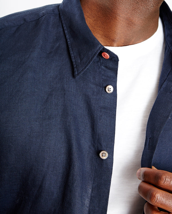 Tailored linen Shirt NAVY