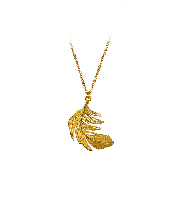 Big Feather Necklace GOLD