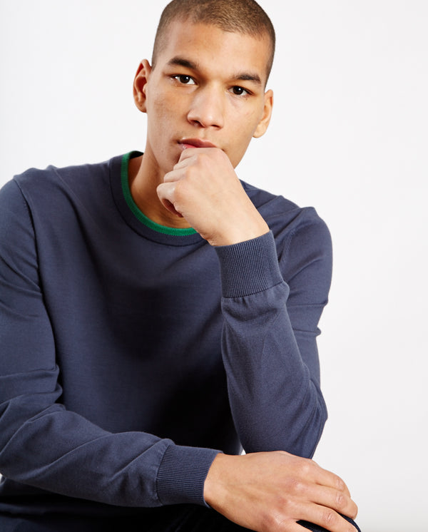 Tipped Crew Neck Knit Navy/Green