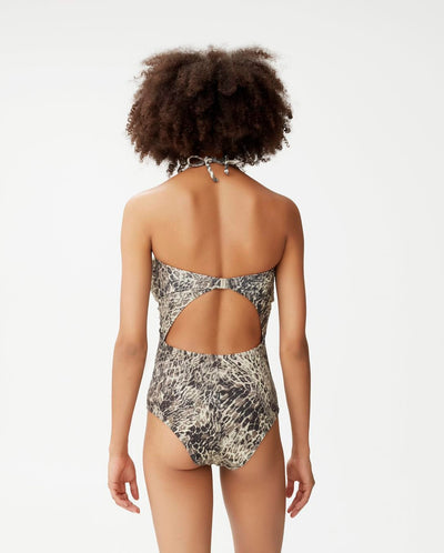 Kelly Open Back Swimsuit Leopard
