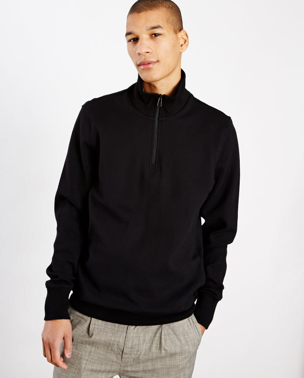 Zip Neck Sweatshirt BLACK