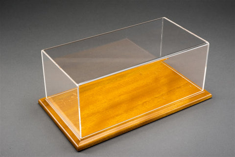 1/18 MOLSHEIM DISPLAY CASE -  LINDEN COLOUR WOOD BASE (Wide Edge)