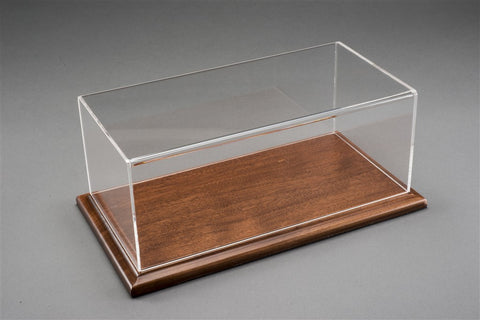 1/12 MOLSHEIM DISPLAY CASE - MAHOGANY COLOUR WOOD BASE (WIDE EDGE)