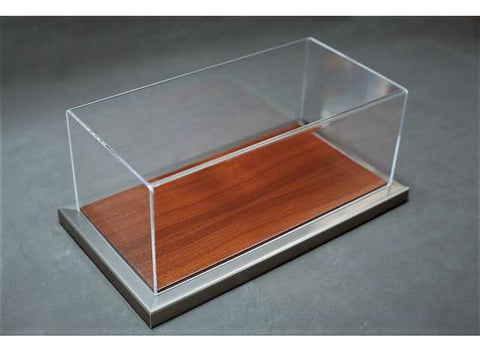 1/18 GOODWOOD DISPLAY CASE - METAL & MAHOGANY COLOUR WOOD BASE