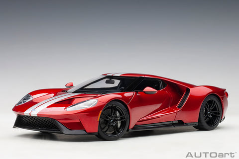1/18 FORD GT 2017 (LIQUID RED/SILVER STRIPES)
