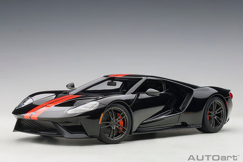 1/18 FORD GT 2017 (SHADOW BLACK/ORANGE STRIPES)