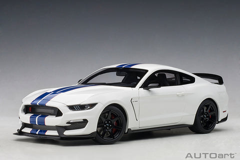 1/18 FORD SHELBY GT-350R  (OXFORD WHITE W/ LIGHTNING BLUE STRIPES)