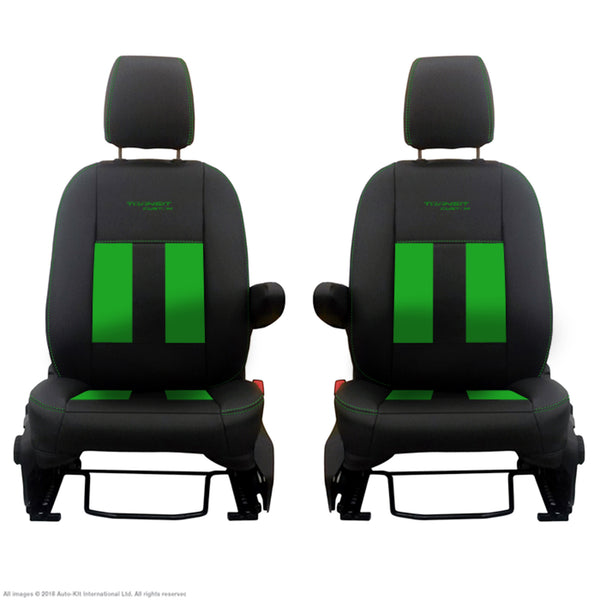 INKA Ford Transit Custom Front Tailored 1+1 Black Leathertte Stripe Seat Covers MY 2018+ [Choice of 6 Colours]
