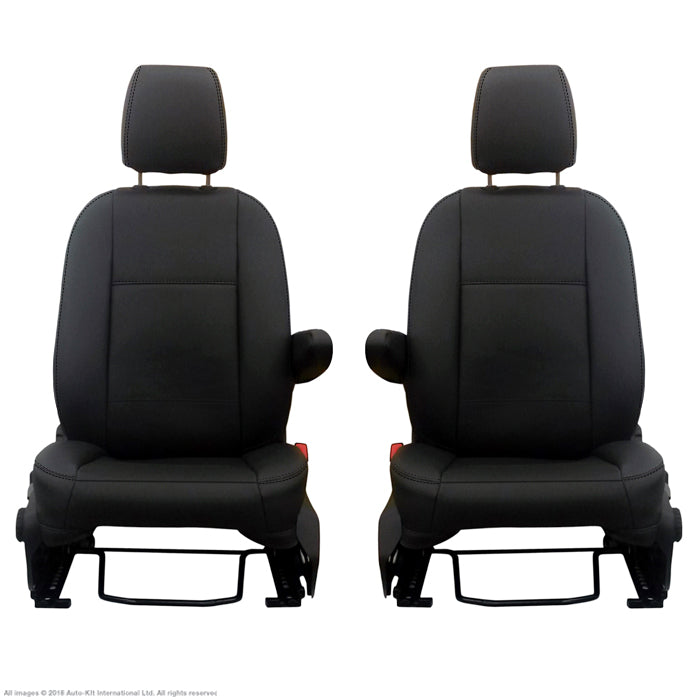 INKA Tailored Ford Transit Custom Front 1+1 Vinyl Leatherette Black Seat Covers [Choice of 8 Stitch Colours]