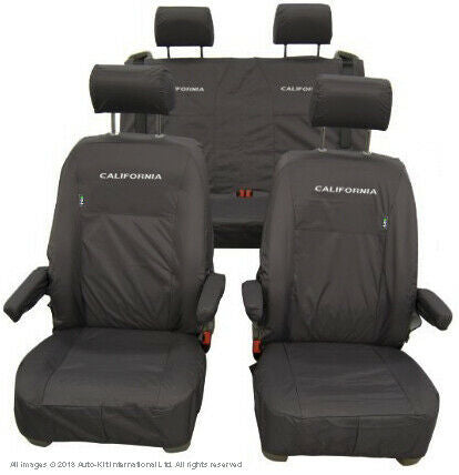 VW California Ocean/Beach Inka Fully Tailored Waterproof Seat Covers Black Fits T6 &T5