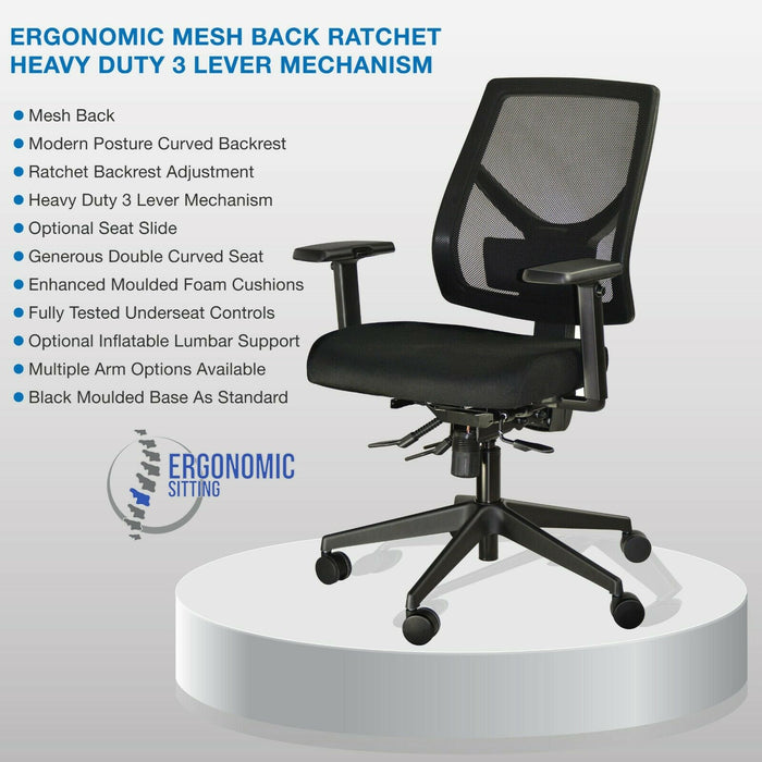 A+Ergonomic Home Office Work Operator Chair Seat Mesh Black Posture Back Comfort