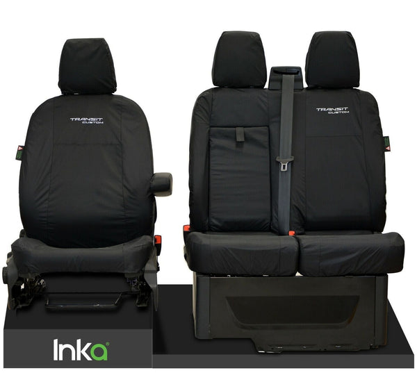 INKA Tailored Ford Transit Custom Waterproof Front Seat Covers Embroidery - MY 2018 onwards [Choice of 2 colours]