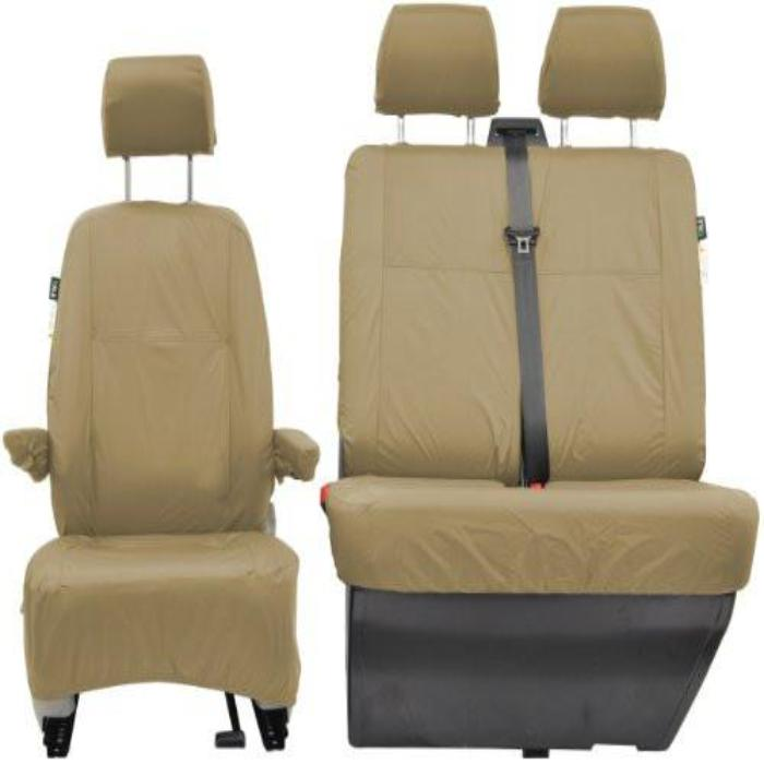 Volkswagen (VW) Transporter Shuttle Fully Tailored Waterproof Front Set Seat Covers 2009 Onwards Heavy Duty Right Hand Drive Beige