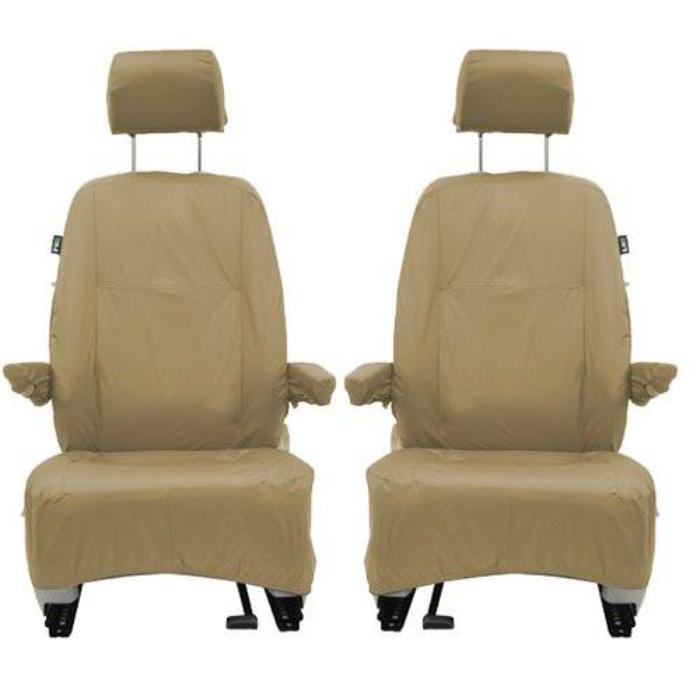 Volkswagen (VW) Caravelle Inka Fully Tailored Waterproof Front Set Seat Covers 2003-2008 Heavy Duty Right Hand Drive Beige