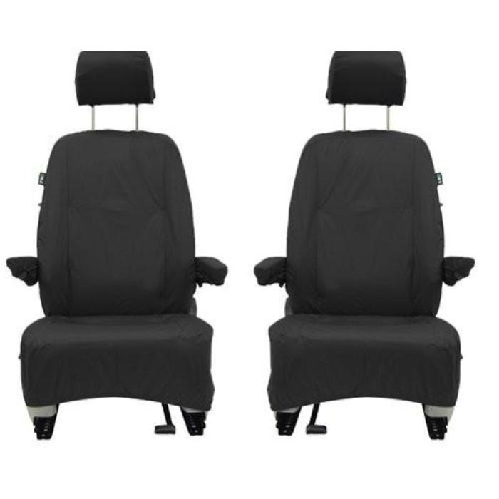 Volkswagen (VW) Transporter T5 Fully Tailored Waterproof Front Set Seat Covers 2009-2014 Heavy Duty Left Hand Drive Black