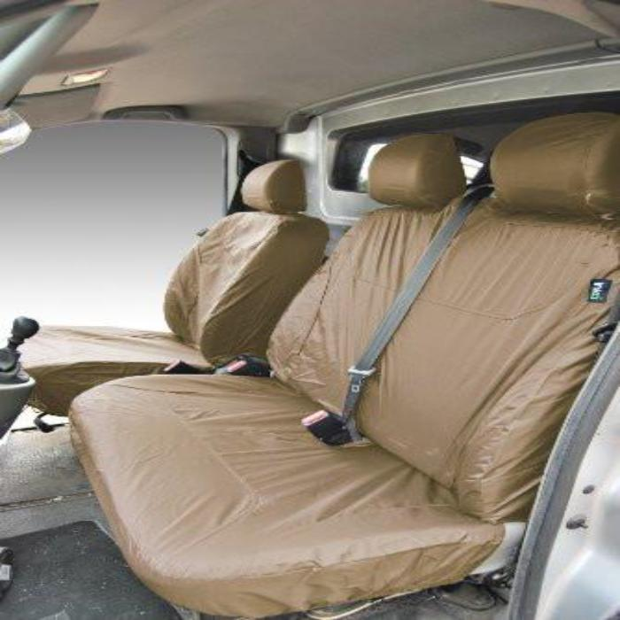 Renault Traffic Panel Van Tailored Waterproof Front Row Set Seat Covers 2003 Onwards Heavy Duty Right Hand Drive Beige