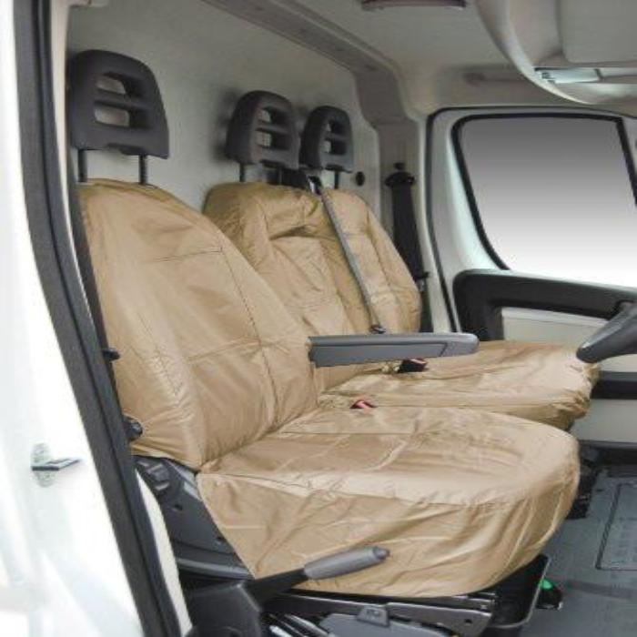 Fiat Ducato Fully Tailored Waterproof Front Single & Double Set Seat Covers 2006 Onwards Heavy Duty Right hand Drive Beige