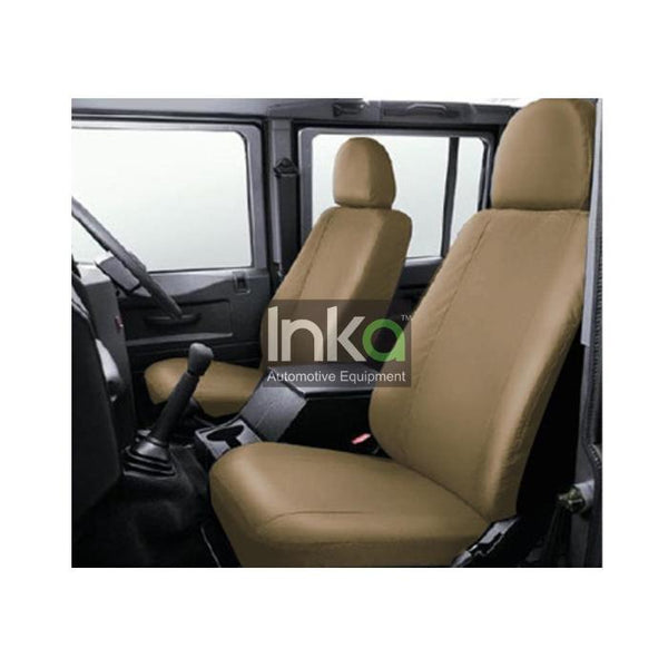 Land Rover Defender Fully Tailored Waterproof Front Row Set Seat Covers 2007 - 2015 Heavy Duty Right Hand Drive Beige