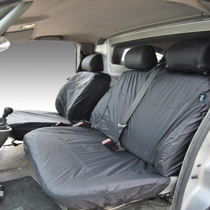 Vauxhall Vivaro Fully Tailored Waterproof Front Seat Covers 2001 - 2014 Heavy Duty Right Hand Drive Grey - INK-WSC-2504