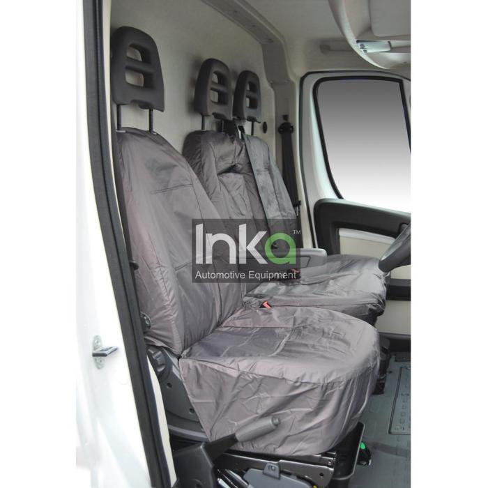 Peugeot Boxer Fully Tailored Inka Waterproof Front Single & Double Seat Covers 2006 - 2016 Heavy Duty Right Hand Drive Grey