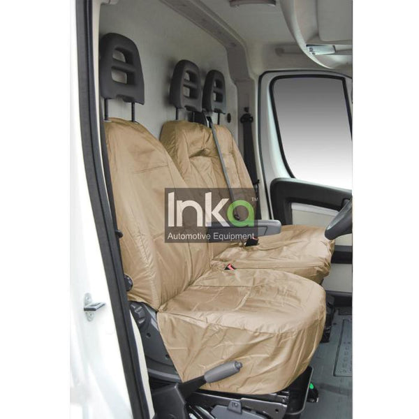 Peugeot Boxer Fully Tailored Inka Waterproof Front Single & Double Seat Covers 2006 - 2016 Heavy Duty Right Hand Drive Beige - INK-WSC-5601