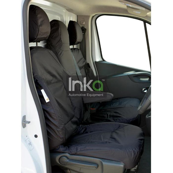 Vauxhall Vivaro Panel Van Tailored Waterproof Front Seat Covers 2014 - 2016 Heavy Duty Right Hand Drive Black - INK-WSC-8101