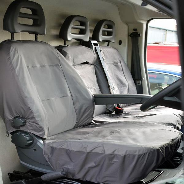 Citroen Relay Fully Tailored Inka Waterproof Front Single & Double Seat Covers 2006 - 2016 Heavy Duty Right Hand Drive Grey