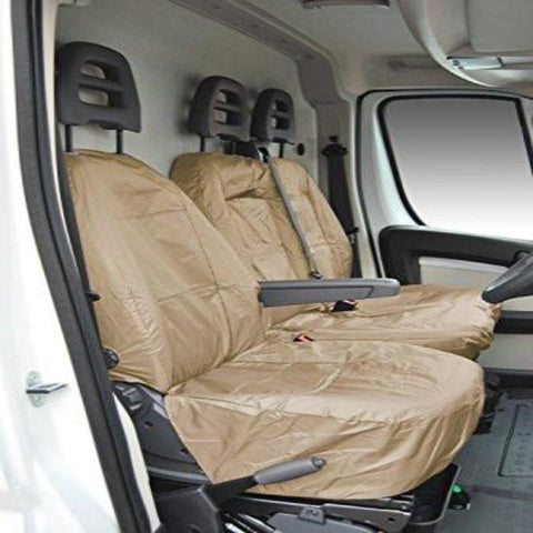 Citroen Relay Fully Tailored Inka Waterproof Front Single and Double Set Seat Covers 2006 - 2014 Heavy Duty Right Hand Drive Beige- INK-WSC-6001