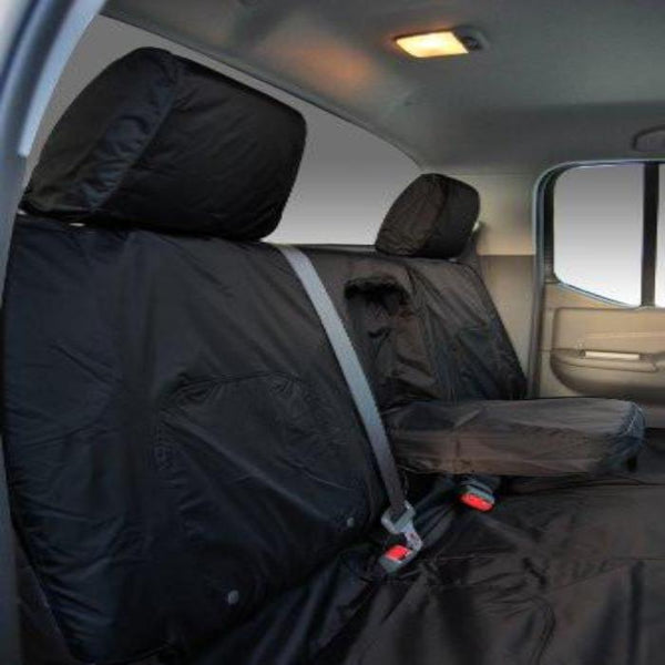 Nissan Navara Tekna Fully Tailored Waterproof Rear Set Seat Covers 2005 Onwards Heavy Duty Right Hand Drive Black