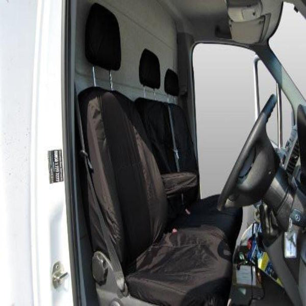 Mercedes Sprinter Fully Tailored Waterproof Front Single and Double Set Seat Covers 2013 Onwards Heavy Duty Right Hand Drive Black- INK-WSC-4704