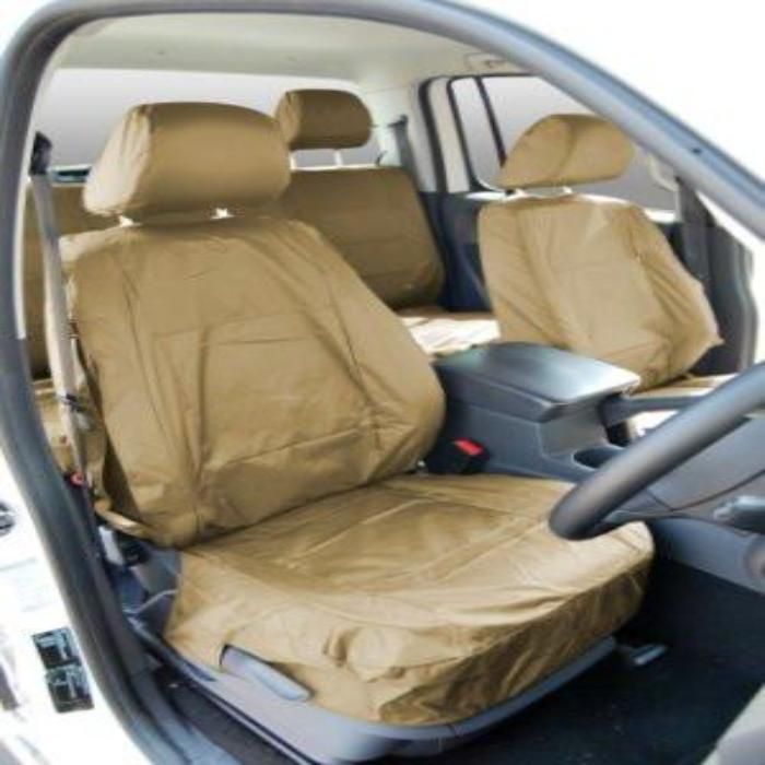 Volkswagen (VW) Amarok Fully Tailored Waterproof Front Set Seat Covers 2011-2013 Onwards Heavy Duty Right Hand Drive Beige