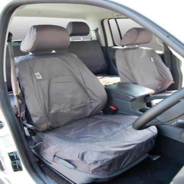 Volkswagen (VW) Amarok Fully Tailored Waterproof Front Set Seat Covers 2011-2013 Onwards Heavy Duty Right Hand Drive Grey