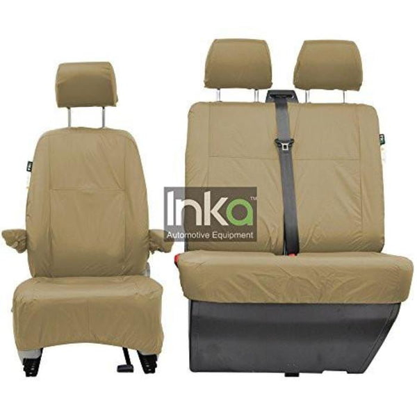 Volkswagen (VW) Transporte T5 Fully Tailored Waterproof Front Set Seat Covers 2009-2015 Heavy Duty Right Hand Drive Beige